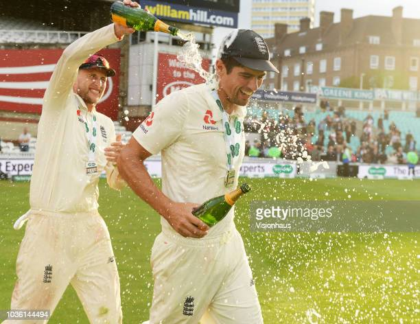 England Captain Joe Root celebrates the series win with Alastair Cook after the 5th Specsavers Test Match between England and India at The Kia Oval...
