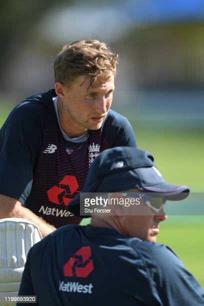 England captain Joe Root chats with coach Chris Silverwood during England nets ahead of the 3rd Test Match against South Africa at St George's Park...