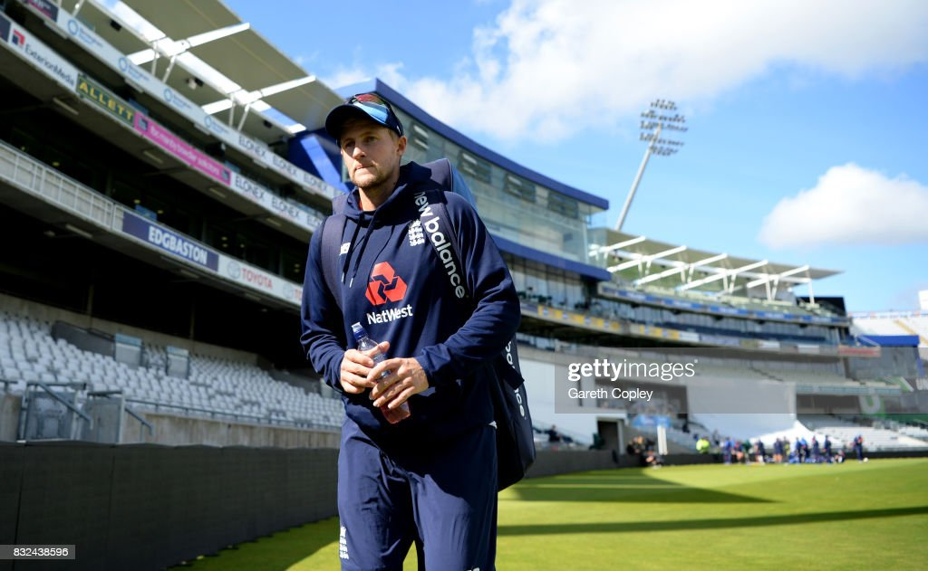 England captain Joe Root during a nets session at Edgbaston on August 16, 2017 in Birmingham, England.