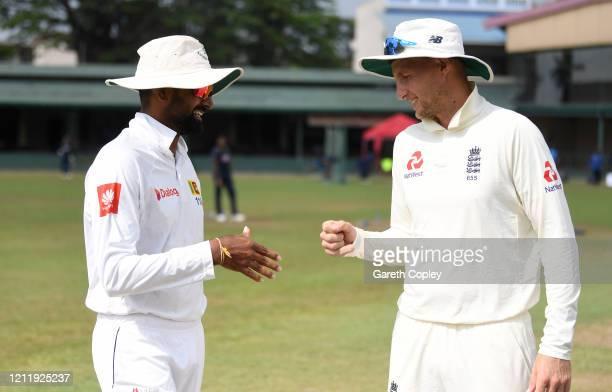 England captain Joe Root fist pumps SLC Board President's XI captain Lahiru Thirimanne ahead of the tour match between SLC Board President's XI and...