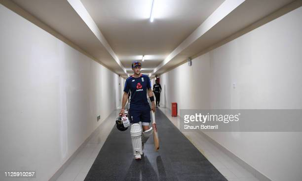 England captain Joe Root heads out to Net Practice at Sir Vivian Richards Stadium on January 29, 2019 in St John's, Antigua.