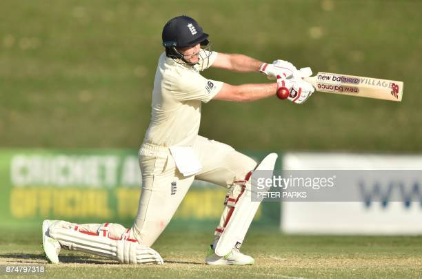 England captain Joe Root hits a ball on the second day of a fourday Ashes tour match against Cricket Australia XI at the Tony Ireland Stadium in...