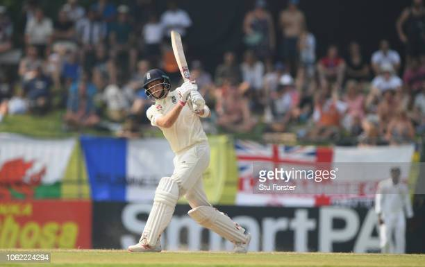 England captain Joe Root hits a six during Day Three of the Second Test match between Sri Lanka and England at Pallekele Cricket Stadium on November...