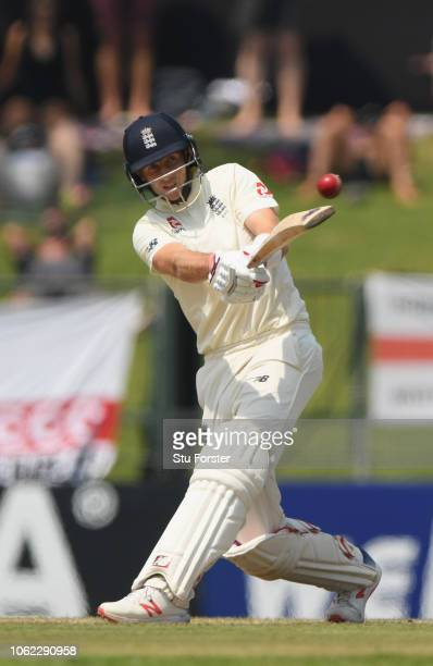 England captain Joe Root hits out during Day Three of the Second Test match between Sri Lanka and England at Pallekele Cricket Stadium on November 16...