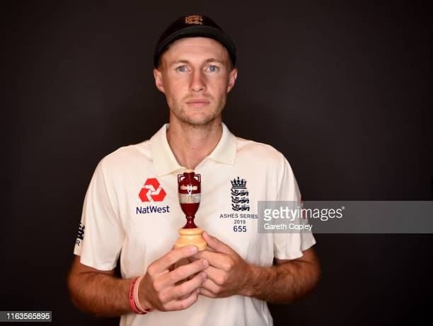 England captain Joe Root holds a replica Ashes urn as he poses for a portrait on July 22 2019 in London England
