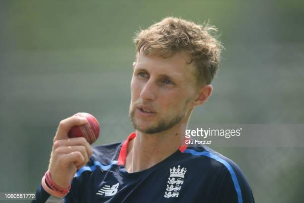 England captain Joe Root in action during England nets at Pallekelle Stadium on November 12 2018 in Kandy Sri Lanka