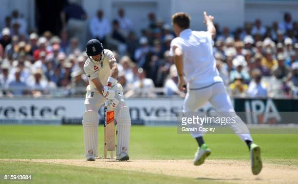 England captain Joe Root is bowled by Chris Morris of South Africa during day four of the 2nd Investec Test match between England and South Africa at...