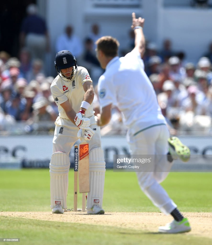 England captain Joe Root is bowled by Chris Morris of South Africa during day four of the 2nd Investec Test match between England and South Africa at Trent Bridge on July 17, 2017 in Nottingham, England.