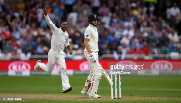 England captain Joe Root is dismissed by Hardik Pandya of India during day two of the Specsavers 3rd Test match between England and India at Trent...