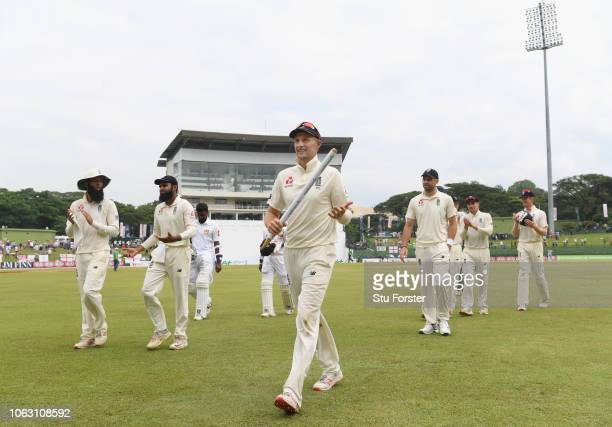 England captain Joe Root leads his team off the field after victory in the match and a 20 lead in the series during Day Five of the Second Test match...
