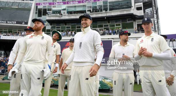England captain Joe Root leads his team on to the field during day three of the 2nd NatWest Test match between England and Pakistan at Headingley on...