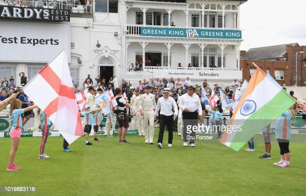 England captain Joe Root leads his team out during day four of the 3rd Test Match between England and India at Trent Bridge on August 20 2018 in...