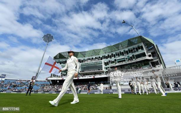 England captain Joe Root leads out his team ahead of day three of the 2nd Investec Test between England and the West Indies at Headingley on August...