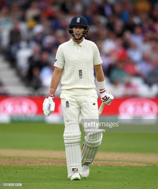 England captain Joe Root leaves the field after being dismissed by Hardik Pandya of India during day two of the Specsavers 3rd Test match between...
