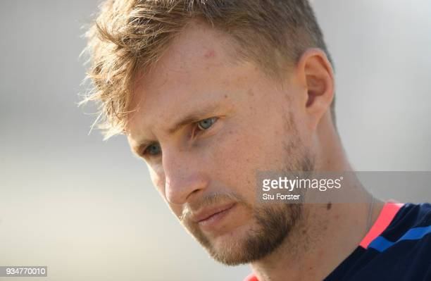 England captain Joe Root looks on during England nets at Eden Park on March 20 2018 in Auckland New Zealand