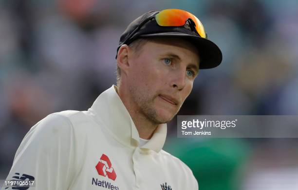 England captain Joe Root looks towards the podium at the presentation ceremony during day four of the England v Australia 5th Ashes test match at The...