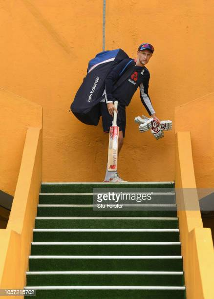 England captain Joe Root makes his way onto the field before England Nets ahead of the First Test Match at Galle International Stadium on November 4...