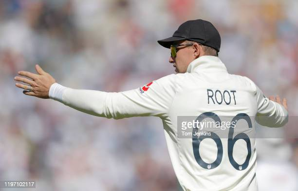 England captain Joe Root organises his field during day four of the England v Australia 5th Ashes test match at The Oval on September 15th 2019 in...
