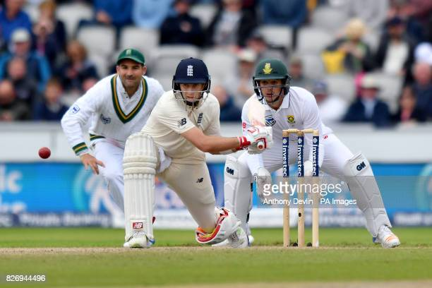 England captain Joe Root plays a reverse sweep during day three of the Fourth Investec Test at Emirates Old Trafford Manchester