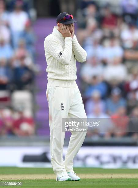 England captain Joe Root reacts during day two of the Specsavers 4th Test match between England and India at The Ageas Bowl on August 31 2018 in...