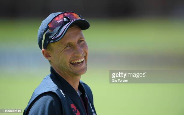 England captain Joe Root reacts during England nets ahead of the 3rd Test Match against South Africa at St George's Park on January 15, 2020 in Port...