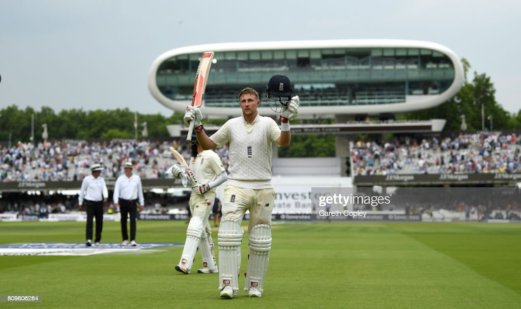 England captain Joe Root salutes the crowd as he leaves the field at stumps on day one of 1st Investec Test match between England and South Africa at Lord's Cricket Ground on July 6, 2017 in London, England.