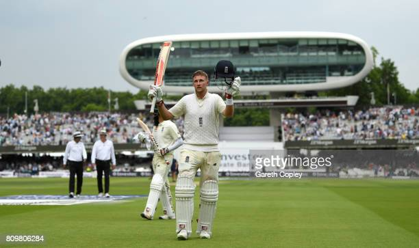 England captain Joe Root salutes the crowd as he leaves the field at stumps on day one of 1st Investec Test match between England and South Africa at...