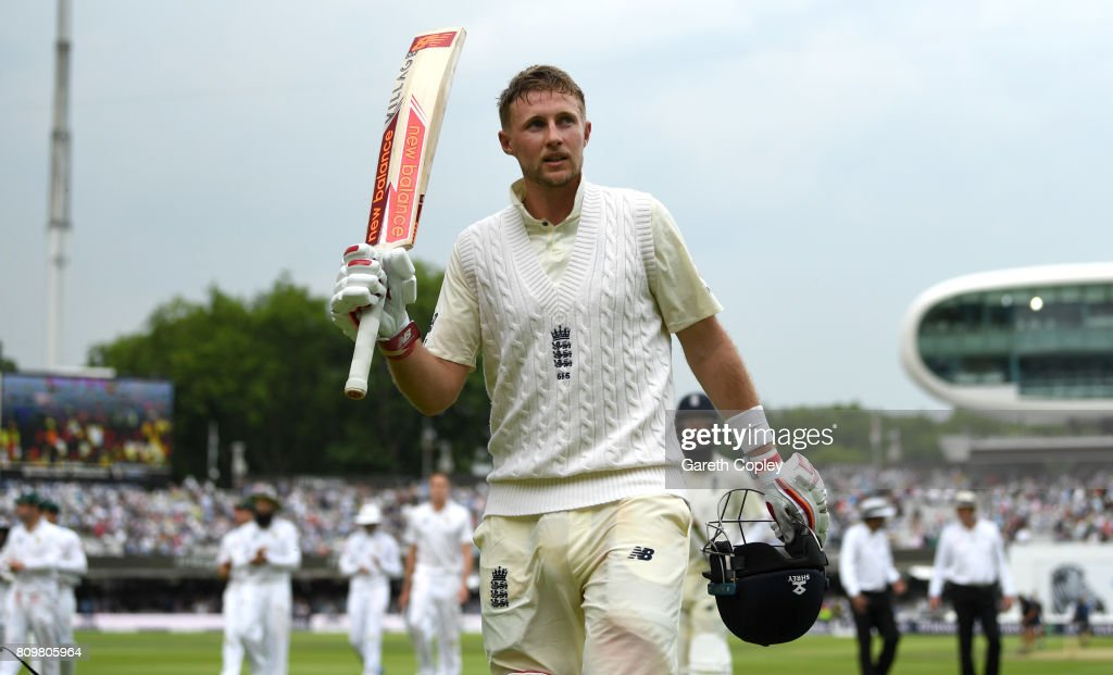 England captain Joe Root salutes the crowd he leaves the field at stumps on day one of 1st Investec Test match between England and South Africa at Lord's Cricket Ground on July 6, 2017 in London, England.
