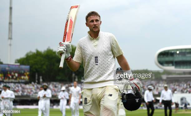 England captain Joe Root salutes the crowd he leaves the field at stumps on day one of 1st Investec Test match between England and South Africa at...