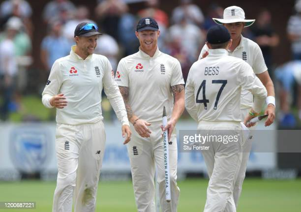 England captain Joe Root shares a joke with Ben Stokes as England celebrate the final wicket and victory in the Test Match during Day Five of the...