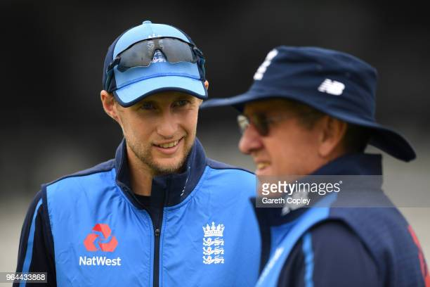 England captain Joe Root speaks coach Trevor Bayliss during a nets session at Headingley on May 31 2018 in Leeds England