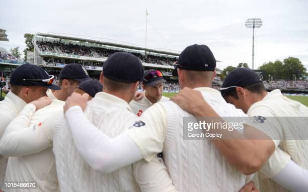 England captain Joe Root speaks to his team before taking the field during day four of the 2nd Specsavers Test between England and India at Lord's...