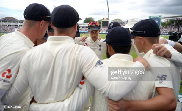 England captain Joe Root speaks to his team during day three of Specsavers 1st Test match between England and India at Edgbaston on August 3 2018 in...