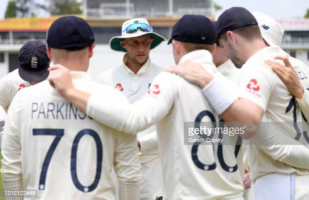England captain Joe Root speaks to his team during the tour match between SLC Board President's XI and England at P Sara Oval on March 13, 2020 in...