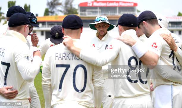 England captain Joe Root speaks to his team during the tour match between SLC Board President's XI and England at P Sara Oval on March 13 2020 in...