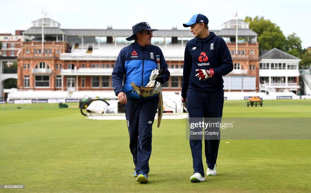 England captain Joe Root speaks with coach Trevor Bayliss during a nets session at Lord's Cricket Ground on September 6, 2017 in London, England.