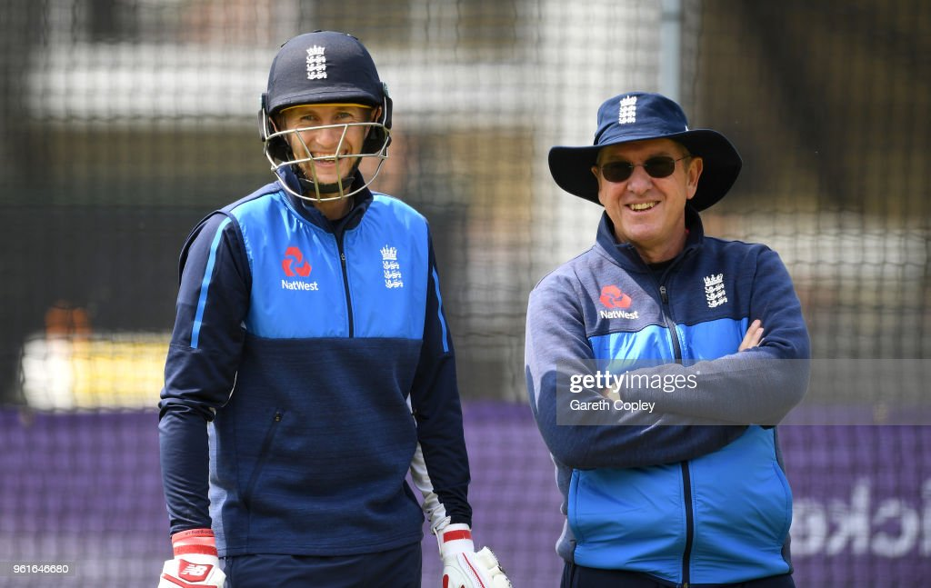 England captain Joe Root speaks with coach Trevor Bayliss during a nets session at Lord's Cricket Ground on May 23, 2018 in London, England.