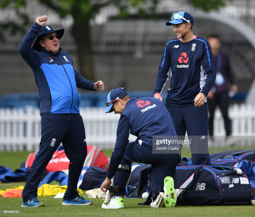 England captain Joe Root speaks with coach Trevor Bayliss (left) during a nets session at Lord's Cricket Ground on May 23, 2018 in London, England.