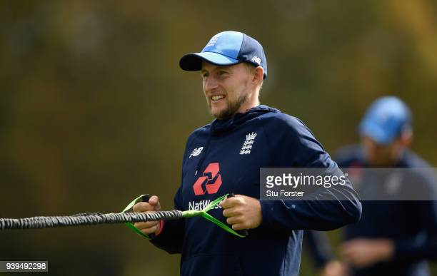 England captain Joe Root stretches during England nets ahead of the second test match against the New Zealand Black Caps at Hagley Oval on March 29...