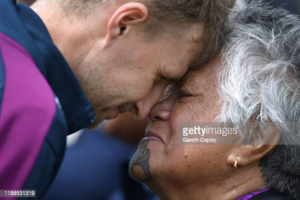 England captain Joe Root takes part in a hongi during a Maori welcome ceremony at Bay Oval on November 19 2019 in Mount Maunganui New Zealand