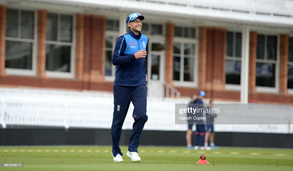England captain Joe Root takes part in the fielding drill during a nets session at Lord's Cricket Ground on May 23, 2018 in London, England.