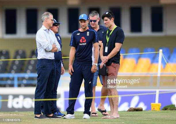 BARBUDA JANUARY 3 England captain Joe Root talks with Chairman of Selectors Ed Smith and ex captain Alastair Cook during a net session at Sir Vivian...