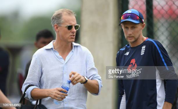 England captain Joe Root talks with national selector Ed Smith during England Cricket Nets at Galle International Stadium ahead of the First Test...