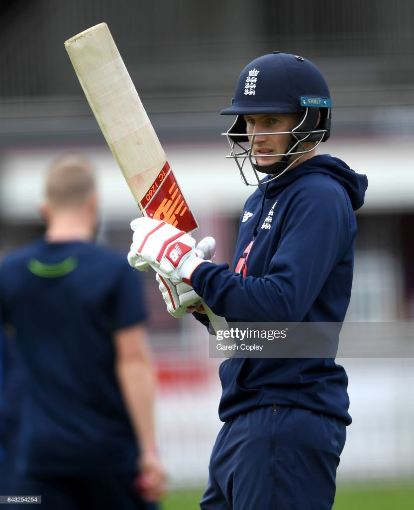 England captain Joe Root waits to bat during a nets session at Lord's Cricket Ground on September 6, 2017 in London, England.