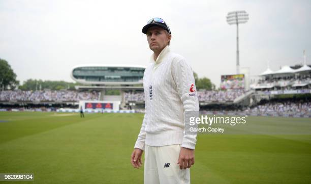 England captain Joe Root waits to take the field during the NatWest 1st Test match between England and Pakistan at Lord's Cricket Ground on May 24...