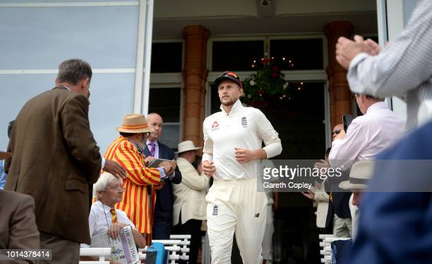 England captain Joe Root walks from the pavilion ahead of day two of the 2nd Specsavers Test between England and India at Lord's Cricket Ground on...