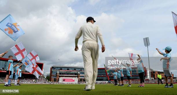 England captain Joe Root walks out ahead of day three of the 4th Investec Test match between England and South Africa at Old Trafford on August 6...