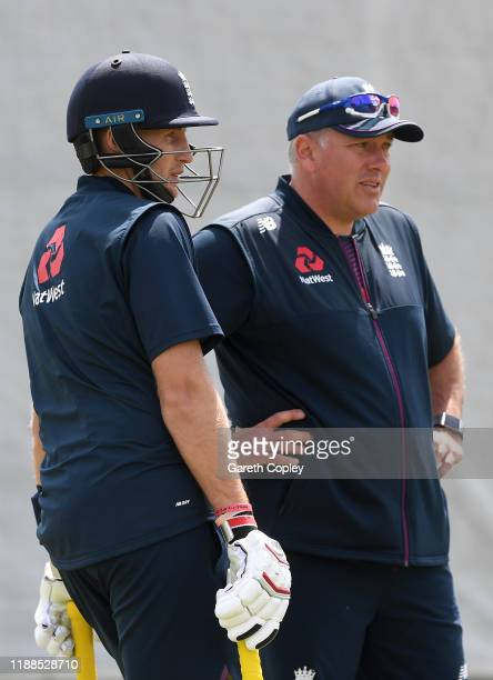 England captain Joe Root with coach Chris Silverwood during a nets session at Bay Oval on November 19 2019 in Mount Maunganui New Zealand