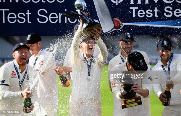 England captain Joe Root with the trophy after day four of the 4th Investec Test match between England and South Africa at Old Trafford on August 7...