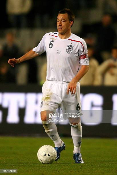 England captain John Terry runs with the ball during the Euro 2008 Group E Qualifying Match between Andorra and England at the Olympic Stadium on...